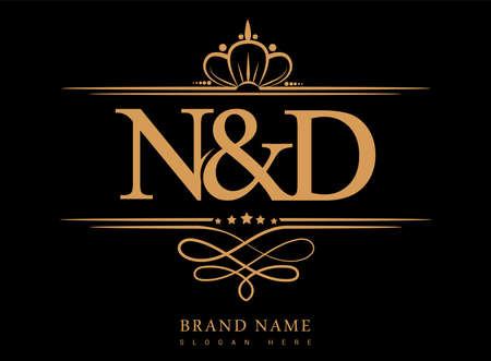 ND Initial logo, Ampersand initial logo gold with crown and classic pattern. Ilustração