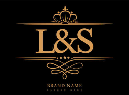 LS Initial logo, Ampersand initial logo gold with crown and classic pattern.
