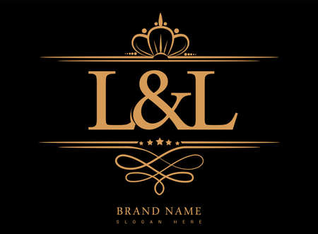 LL Initial logo, Ampersand initial logo gold with crown and classic pattern.