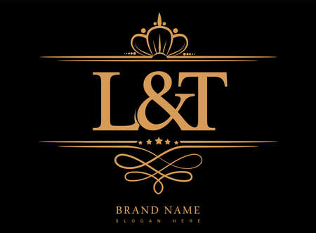 LT Initial logo, Ampersand initial logo gold with crown and classic pattern. Logó
