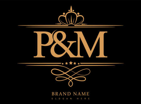 PM Initial logo, Ampersand initial logo gold with crown and classic pattern.  イラスト・ベクター素材