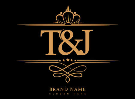 TJ Initial logo, Ampersand initial logo gold with crown and classic pattern.