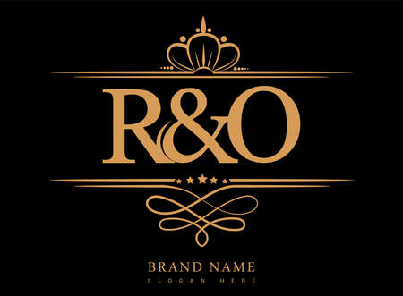 RO Initial logo, Ampersand initial logo gold with crown and classic pattern.