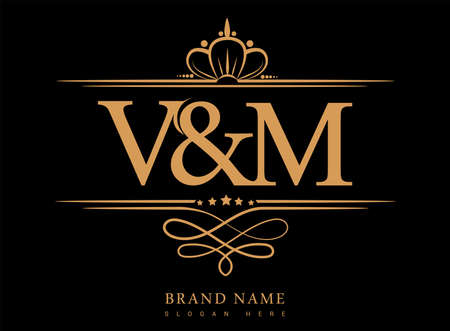 VM Initial logo, Ampersand initial logo gold with crown and classic pattern.
