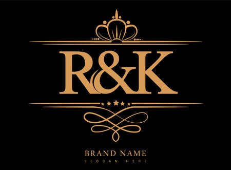 RK Initial logo, Ampersand initial logo gold with crown and classic pattern.