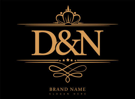DN Initial logo, Ampersand initial logo gold with crown and classic pattern.