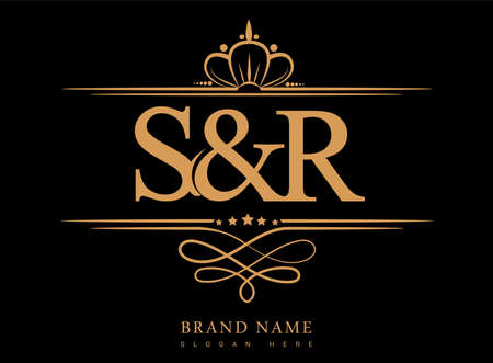 SR Initial logo, Ampersand initial logo gold with crown and classic pattern. Logó