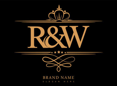 RE Initial logo, Ampersand initial logo gold with crown and classic pattern.
