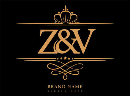 ZV Initial logo, Ampersand initial logo gold with crown and classic pattern. Logo