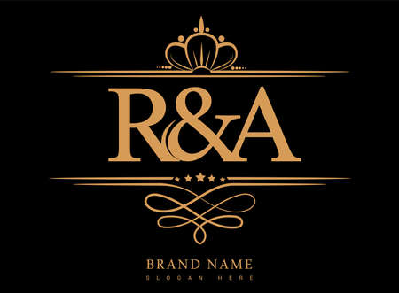 RA Initial logo, Ampersand initial logo gold with crown and classic pattern. Logo