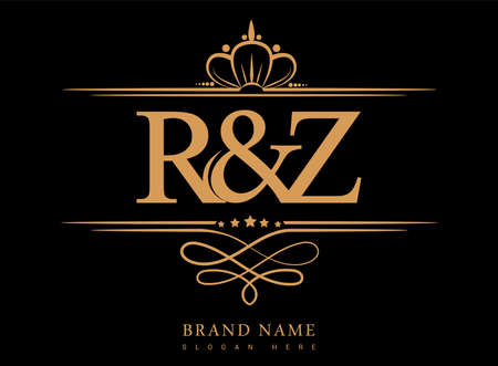 RZ Initial logo, Ampersand initial logo gold with crown and classic pattern.