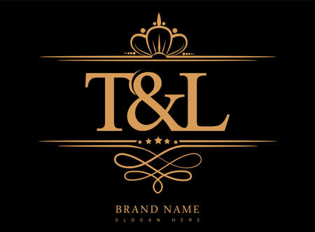 TL Initial logo, Ampersand initial logo gold with crown and classic pattern. Logó