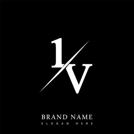 initial logo letter IV for company name black and white color and slash design. vector logotype for business and company identity.