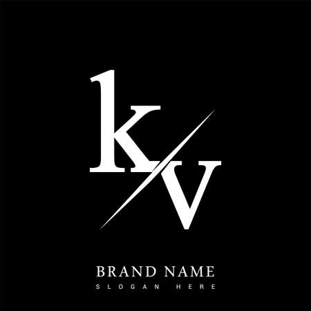 initial logo letter KV for company name black and white color and slash design. vector logotype for business and company identity. Logó