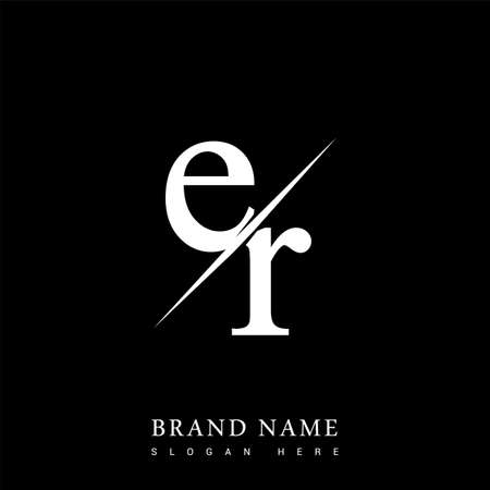 initial logo letter ER for company name black and white color and slash design. vector logotype for business and company identity.