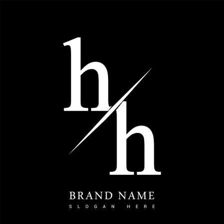 initial logo letter HH for company name black and white color and slash design. vector logotype for business and company identity.