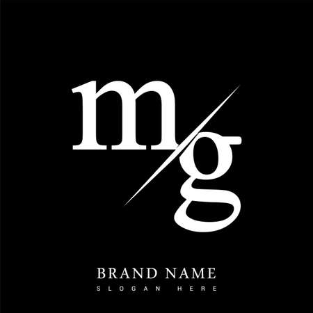 initial logo letter MG for company name black and white color and slash design. vector logotype for business and company identity.