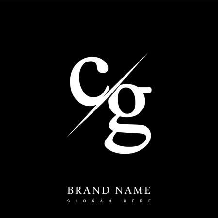 initial logo letter CG for company name black and white color and slash design. vector logotype for business and company identity. Logó