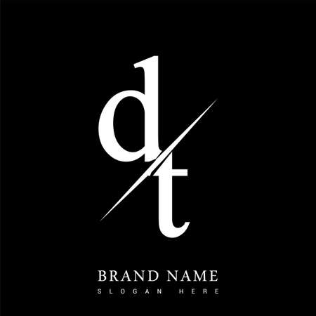 initial logo letter DT for company name black and white color and slash design. vector logotype for business and company identity. Logó