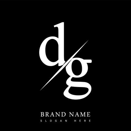 initial logo letter DG for company name black and white color and slash design. vector logotype for business and company identity.