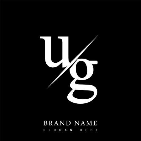initial logo letter UG for company name black and white color and slash design. vector logotype for business and company identity.