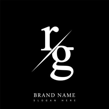 initial logo letter RG for company name black and white color and slash design. vector logotype for business and company identity. Illusztráció