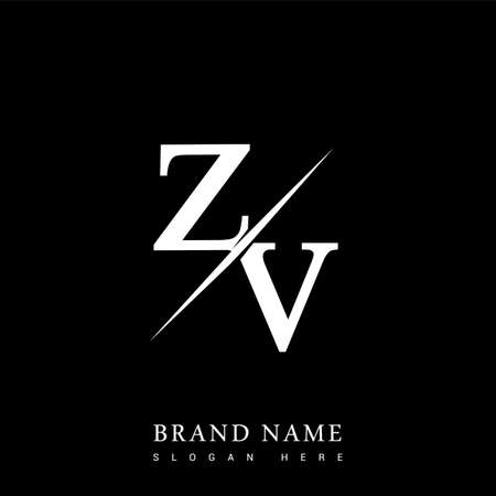 initial logo letter ZV for company name black and white color and slash design. vector logotype for business and company identity.