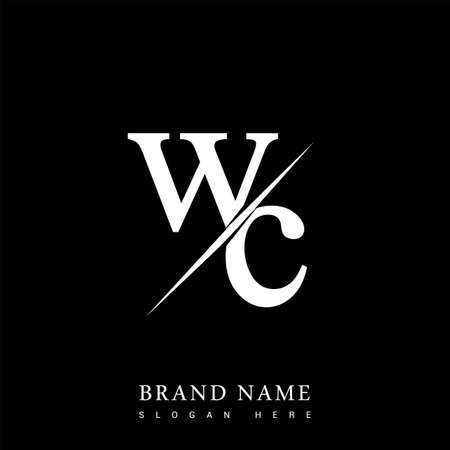 initial   letter WC for company name black and white color and slash design. vector   for business and company identity.