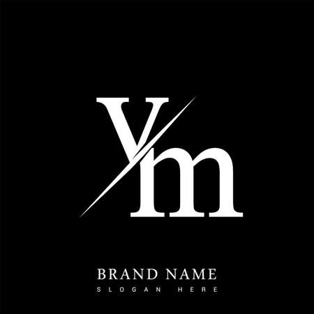 initial letter VM for company name black and white color and slash design. vector for business and company identity. Vektoros illusztráció