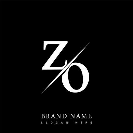 initial logo letter ZO for company name black and white color and slash design. vector logotype for business and company identity. Logo
