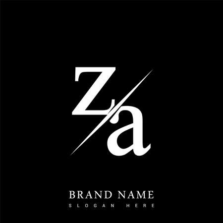 initial logo letter ZA for company name black and white color and slash design. vector logotype for business and company identity.