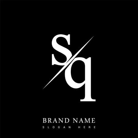initial logo letter SQ for company name black and white color and slash design. vector logotype for business and company identity.