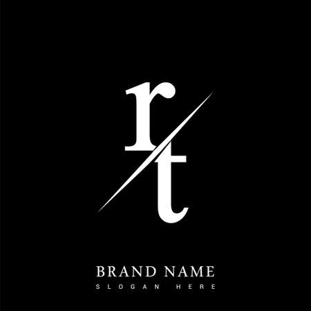 initial logo letter RT for company name black and white color and slash design. vector logotype for business and company identity.