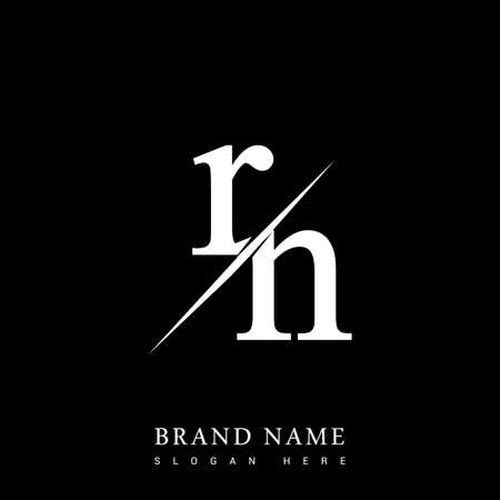 initial letter RN for company name black and white color and slash design. vector icon for business and company identity. Vektorové ilustrace
