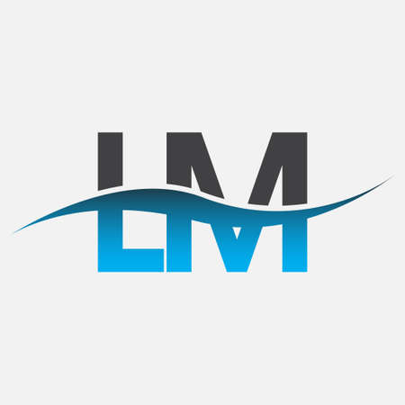initial letter logo LM company name blue and grey color swoosh design. vector logotype for business and company identity.