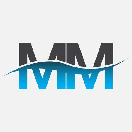 initial letter logo MM company name blue and grey color swoosh design. vector logotype for business and company identity.
