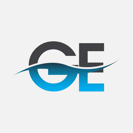 initial letter logo GE company name blue and grey color swoosh design. vector logotype for business and company identity.