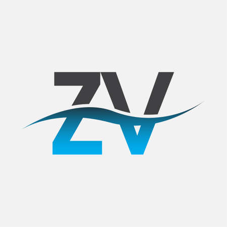 initial letter logo ZV company name blue and grey color swoosh design. vector logotype for business and company identity.