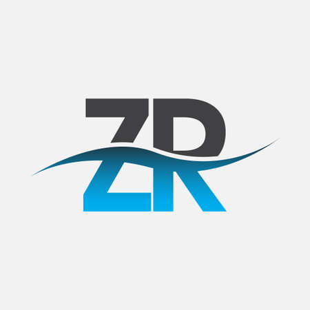 initial letter logo ZR company name blue and grey color swoosh design. vector logotype for business and company identity. Logó