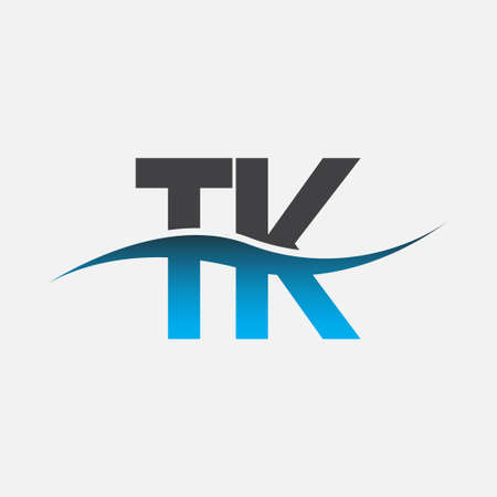 initial letter logo TK company name blue and grey color swoosh design. vector logotype for business and company identity.
