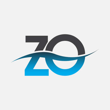 initial letter logo ZO company name blue and grey color swoosh design. vector logotype for business and company identity.