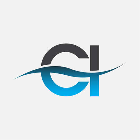 initial letter   CI company name blue and grey color swoosh design. vector   for business and company identity.
