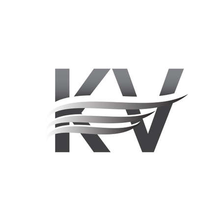Initial KV wing logo, grey color vector logotype, logo for company name business and company identity.