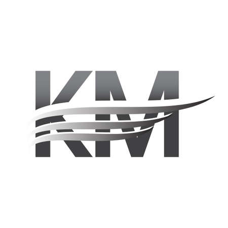 Initial KM wing logo, grey color vector logotype, logo for company name business and company identity.