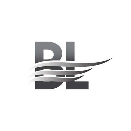 Initial BL wing logo, grey color vector logotype, logo for company name business and company identity.