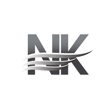 Initial NK wing logo, grey color vector logotype, logo for company name business and company identity.
