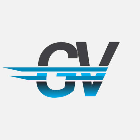initial logo GV company name colored black and blue, Simple and Modern Logo Design.