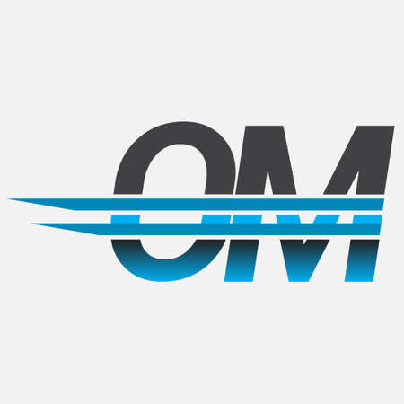 initial logo OM company name colored black and blue, Simple and Modern Logo Design.