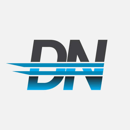 initial logo DN company name colored black and blue, Simple and Modern Logo Design.