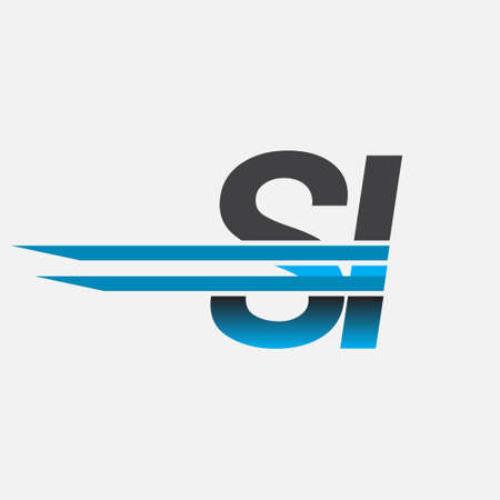 initial logo SI company name colored black and blue, Simple and Modern Logo Design.